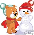 Teddy bear making a snowman