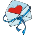 An Envelope with a Single Heart Wrapped with Ribbon