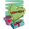 boxes of valentines chocolate and a cup of coffee gif, png, jpg