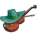 big green irish hat on top of a violin gif, png, jpg