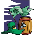 Irish hat, keg, and flag.