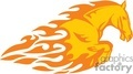 flaming horse on white vector clip art image