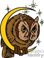 brown owl hanging onto the crescent moon