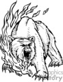 black and white roaring bear in fire