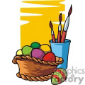 Basket of Colorful Easter Eggs and a Cup with Brushes