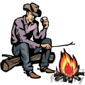 A Cowboy Sitting on a Log Holding a Drink and a Stick over a Fire