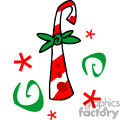 Candycane with a green bow on it