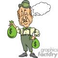 Irish man holding two green money bags