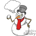 Snowman getting ready to throw a snowball