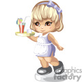 little girl waitress with tray and drink