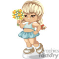 little girl holding bouquet of flowers in midriff shirt and a skirt gif, png, jpg, eps