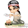 cute native american boy cooking a fish over a fire