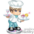 A little boy dressed as a chef carrying trays of food and drink
