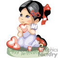 Black haired little girl holding many red hearts