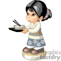asian girl holding a bowl of rice