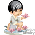 Asian little boy  holding pink orchids