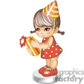 a cute little girl in a party hat holding a gift gif, png, jpg, eps