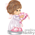 a little brown haired girl in a nightgown holding a heart print blanket