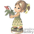 Little girl in a tan flowered dress holding a potted lily