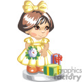 Cute little girl dressed in yellow holding flowers and presents