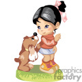 black haired little girl with a brown puppy