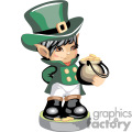 Cute Leprechaun holding a pot of gold coins