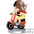 Small girl riding a scooter