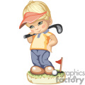 A little boy golfing