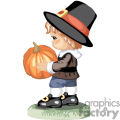 Small Pilgrim child holding a pumpkin