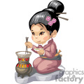 Asian girl cooking rice
