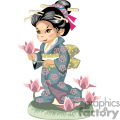 asian girl in a blue kimono with pink flowers walking through the orchids