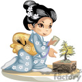Asian little girl ina  blue kimono watering a bonsai tree