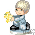 a boy down on his knee holding a bouquet of flowers gif, png, jpg, eps
