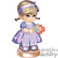 a little girl holding tulips in a blue dress with pink flowers gif, png, jpg, eps