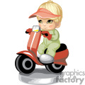 A child riding a scooter