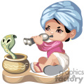 Little indian boy singing to a cobra snake