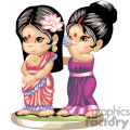 two indian girls in sarongs one is combing the other ones hair