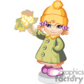 a little girl with a yellow fall hat holding some autumn leaves