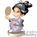 small asian girl holding a mirror gif, png, jpg, eps