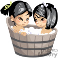 Two little girls taking a bubble bath in a barrel