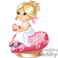 Blond girl holding a heart sitted in heart shape pillow