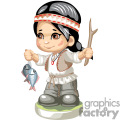 a native american boy fishing