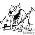 Black and white image of a cat holding a dart gun