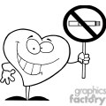2913-Red-Heart-Holding-up-A-No-Smoking-Sign