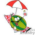 2843-Cartoon-Watermelon-Holding-A-Glass-With-Juice