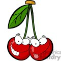 two silly cartoon cherry character
