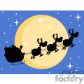 3139-Black-Silhouette-Of-Santa-And-A-Reindeers-Flying-In-A-Sleigh