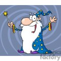 happy wizard holding a magic wand