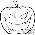 Black and White Halloween Jack-o-lantern  Winking