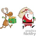 cartoon reindeer running with santa delivering gifts gif, png, jpg, eps, svg, pdf